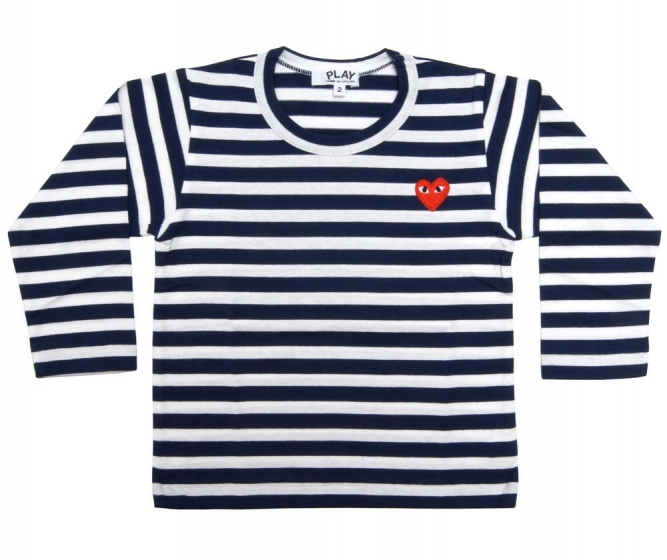 Kids L/S Striped Tee - Embr Red Heart