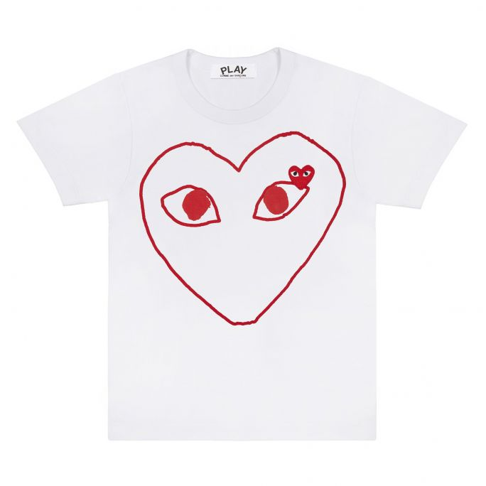 Wms Tee - Outline Red Heart