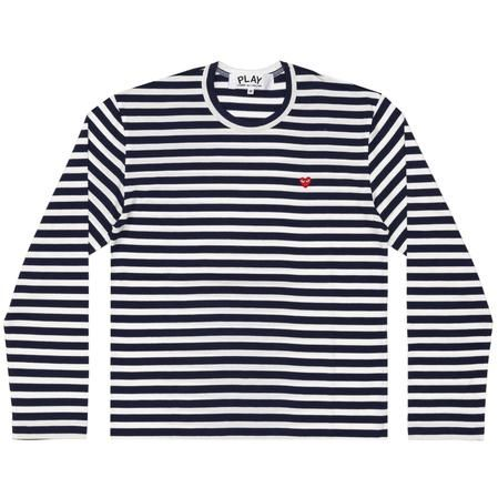 Wms Stripe L/S Tee - Small Red Heart
