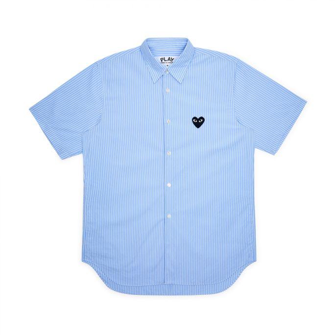 Womens Striped Shirt - Embr Black Heart