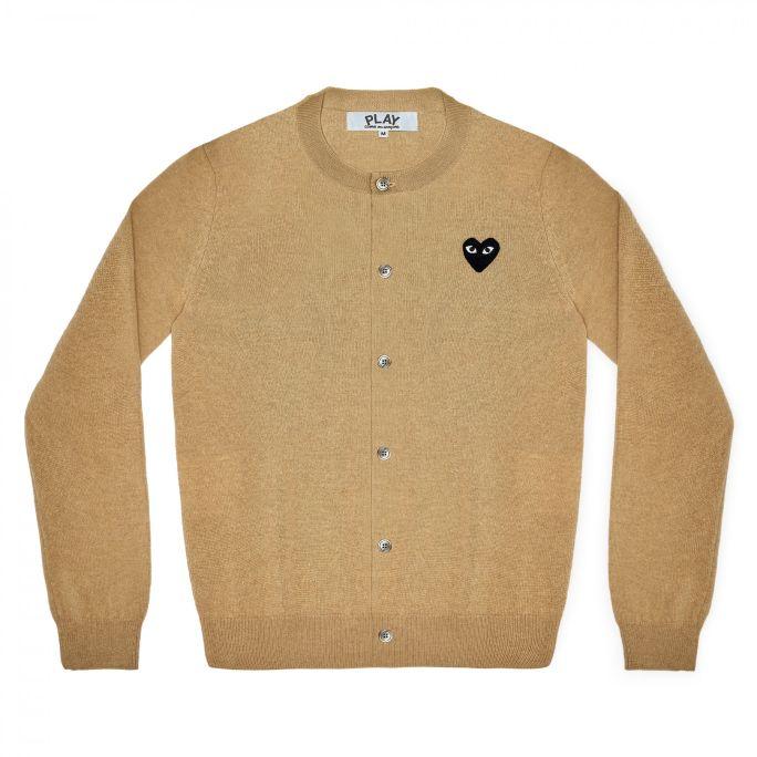 Womens Wool Cardigan - Embr Black Heart