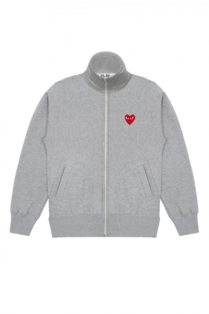 Mens Zip Cotton Sweatshirt - PLAY Logo/5 Hearts