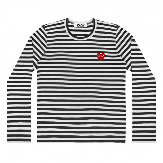 Mens L/S Striped Tee - Emb Red Heart