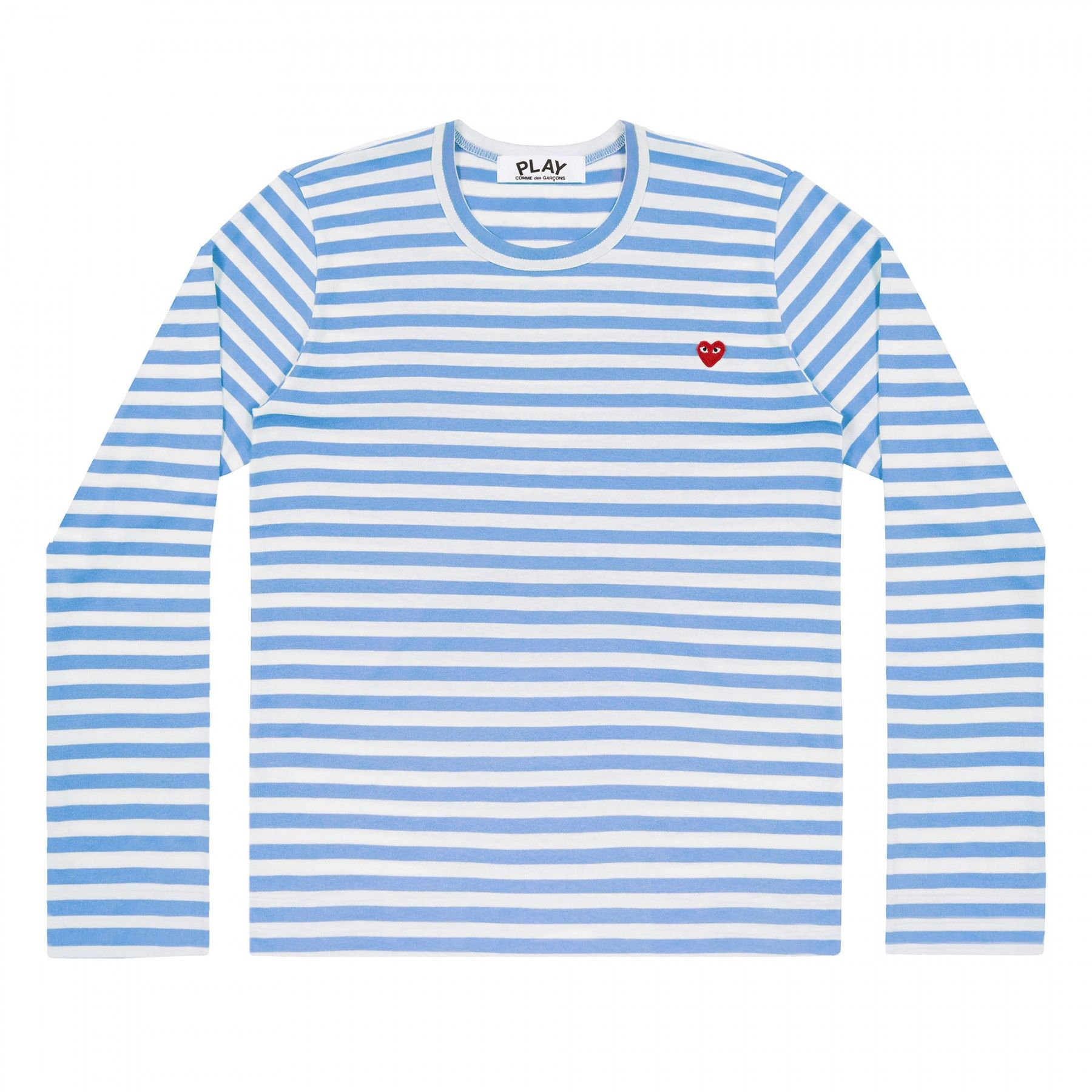 Mens L S Striped Tee Small Red Heart