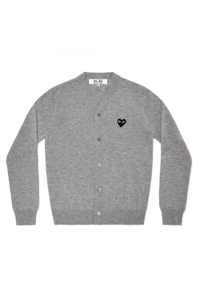 Mens Wool Cardigan - Embr Black Heart